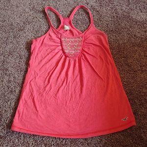 Hollister peachy pink racer back tank top
